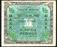 1944 Germany Allied Occupation 1/2 Mark Banknote * 054377745 * gF * P-191 *