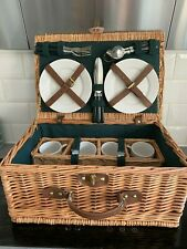 Brand New Wicker Picnic Hamper Basket 4 x Plates, Cutlery & Cups Inc UK Shipping