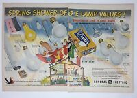 Original Print Ad 1950 GE LAMPS General Electric 2 Page Ad Vintage Art