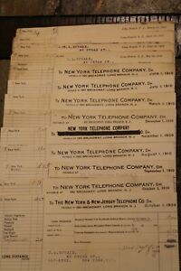 Lot of 13 New York Telephone Company Paid Receipts 1909-1910~RARE~#529C
