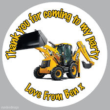 12 x Personalised JCB Digger 63mm Birthday Stickers Party Thank You -N361