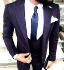 Diseñador Negocios OSCURO Púrpura Violeta Traje de hombre chaqueta chaleco