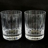 2 (Two) BACCARAT HARMONIE Cut Crystal DBL Old Fashion Tumblers France - Signed