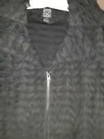 CLARA SUN WOO NWT Black Stretch/Sparkle/Slight Ruffle Full Zip Jacket L