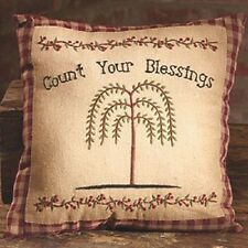 "Primitive Country Rustic Stitchery "" COUNT YOUR BLESSINGS "" Willow Tree Pillow"