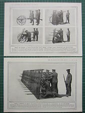 1915 WWI WW1 PRINT ~ WHEELED BULLET-PROOF SHIELD INFANTRY ARMOUR ROAD-DEFENCE