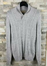 M&S Collezione Mens Size M Lambswool Blend Grey Thick Knit  Jumper Sweater