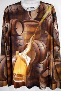 GET A LIFE Beer In Mug Barrels Kegs Shirt Men's Large Long Sleeve