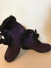 Sporto Suede Boots Waterproof Katie Purple Women Size 6.5 Faux Fur Lace Up & Box