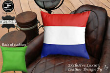 """NETHERLAND FLAG COLOUR LEATHER 1X EXCLUSIVE LUXURY CUSHION 18""""x18"""" L GREEN BACK"""