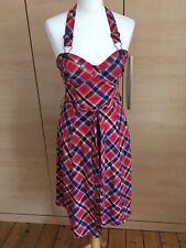 Oasis Red Tartan Check Plaid Halter Dress Rockabilly 50s Skater Dress Size 8