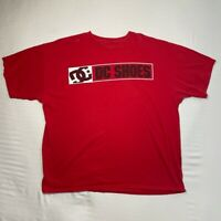 Dc Shoes Mens Graphic T-Shirt Red Black Spell Out Short Sleeve Crew Neck 2xl