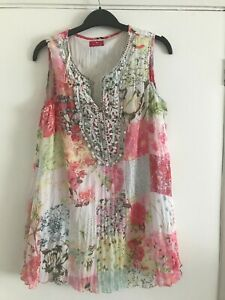 Pink Floral Long Lined TOGETHER Sleeveless Top - Size 12