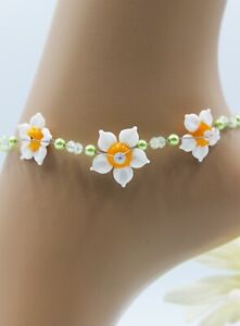 Glass Jewellery Stainless Steel Ankle Chain Lampwork Beads Flowers Summer #J046