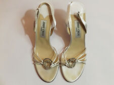 "Beautiful white satin/silk Jimmy Choo ""Evelyn"" bridal sandals."