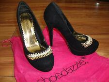 ShoeDazzle Black Suede Jewel Chain Heels Size 3/Size 4 RRP £85 - Kim Kardashian