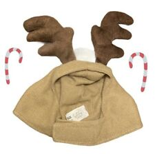 New Petco Holiday Christmas Cat Dog Hat Reindeer Antlers Hood Hat