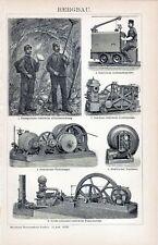 Antique print mine mining mijnbouw bergbau 1897