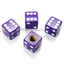 (4) Purple Dice Tire/Wheel Stem Air Valve CAPS covers set car truck hot rod ATV