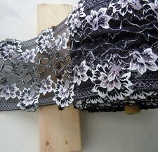 "3 Yards 7"" Wide Lovely Black Stretch Lace with Ivory and Pink Flower 209"
