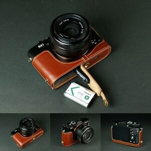 Genuine real Leather Half Camera Case bag cover for Sony RX1 RX1R Bottom Open