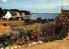 BR54094 Ile Aux Moines jardins et maisons en bordure du port france