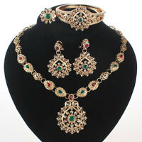 Fashion Women Gold Plated Rhinestone Crystal Wedding Party Necklace Jewelry Sets