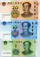 CHINA SET 3 UNC 1 10 20 YUAN 2019 P NEW MAO NEW HYBRID SECURITY THREAD UNC