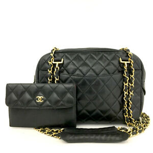 CHANEL Quilted Matelasse CC Logo Lambskin Chain Shoulder Bag w/Wallet /60901