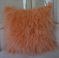 AS SEEN ON 2018 THE BLOCK Simulated Salmon Pink Mongolian Wool Cushion Cover