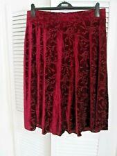 BNWT Burgundy Velour Calf Length Flared Skirt From Marks and Spencer Size 18 L