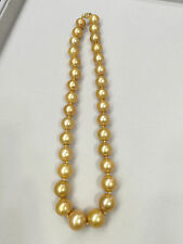 "Beauty 18"" Strand/String 12-16mm south sea golden pearl necklace 14k gold clasp"