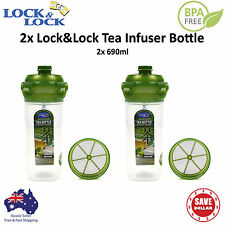 2x Lock&Lock 690ml Tea Bottle Infuser Stainless Strainer Sport BPA Free Plastic