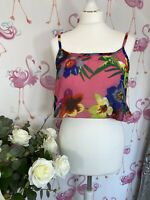 New Lipsy Michelle Keegan Pink Floral Crop Top Summer Sexy Glam 12