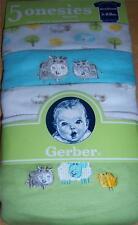 Gerber 5pk Short Sleeve Onesies, Baby Shower, Newborn, Cow, Sheep, Chick