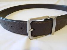 Cole Haan Mens Belt 36 BROWN  Rev Feather Edge Pebble to Smooth  Leather New