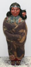 Vintage Antique SKOOKUM Indian Woman Papoose Doll Side Glancing Eyes Bully Good