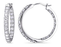 Created White Sapphire 3.60 Carat (ctw) Hoop Earrings in Sterling Silver