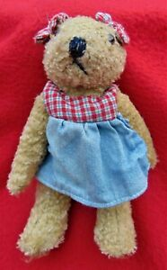 """VINTAGE TEDDY BEAR 7"""" BEAR ~ ADORABLE WITH EAR RIBBONS MATCHING OUTFIT ~ CLEAN!"""