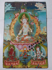 "36"" China Silk Embroidery Art Decorate Tibet Buddhism Buddha Painting Tangka"