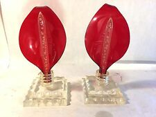 2 Vtg Lucite w Red Calla Lily Flower Candle Holders 2 Clear Acrylic Candles MCM