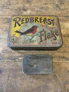 2 x Vintage Ogdens Redbreast Flake Tobacco Tins 1 x Large & 1 x Small