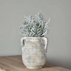 Medium Rustic French Urn Vase Planter Jar Handles Stone Greek Whitewashed