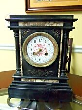 A.G. Mougin French Ornate Slate & Marble Mantle Clock Serviced 2019 Beautiful NR
