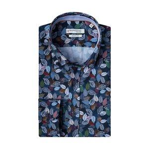 Mens Giordano Leaf Print Shirt Blue 207838