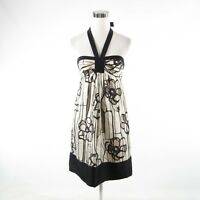 Black cream floral satin BCBG MAX AZRIA halter neck sheath dress 2