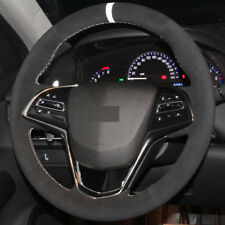DIY Steering Wheel Cover Black Suede Hand Sewing For Cadillac ATS 13-15 CTS