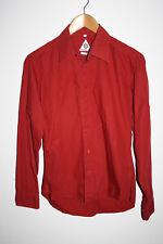 "Lambretta Fashion Designer Men's 100%Cotton Long Sleeve Burgundy Red Shirt 22"" L"