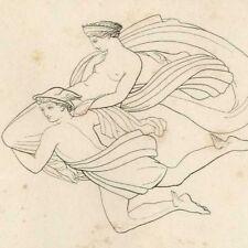 Pandore vers Epiméthée Mythologie Poésie Hésiode - John Flaxman gravure 19e