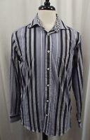 Bugatchi Uomo Mens Shirt Long Sleeve Sz Medium M Button Down Front Striped Dress